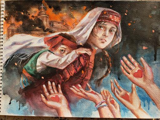 """Helping Hands,"" artwork shows a young girl carrying her little brother away from fires that were common during the Armenian Genocide"